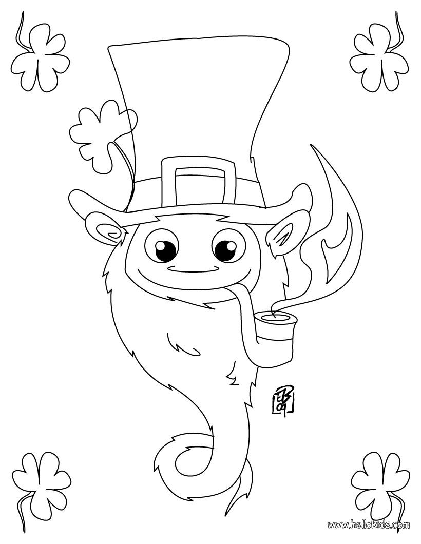 Happy Leprechaun Coloring Pages Hellokids