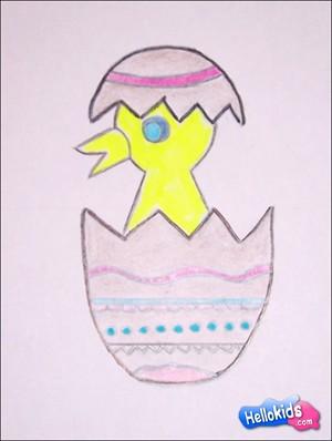 Easter Chick Drawing : easter, chick, drawing, Easter, Chick, Shell, Hellokids.com