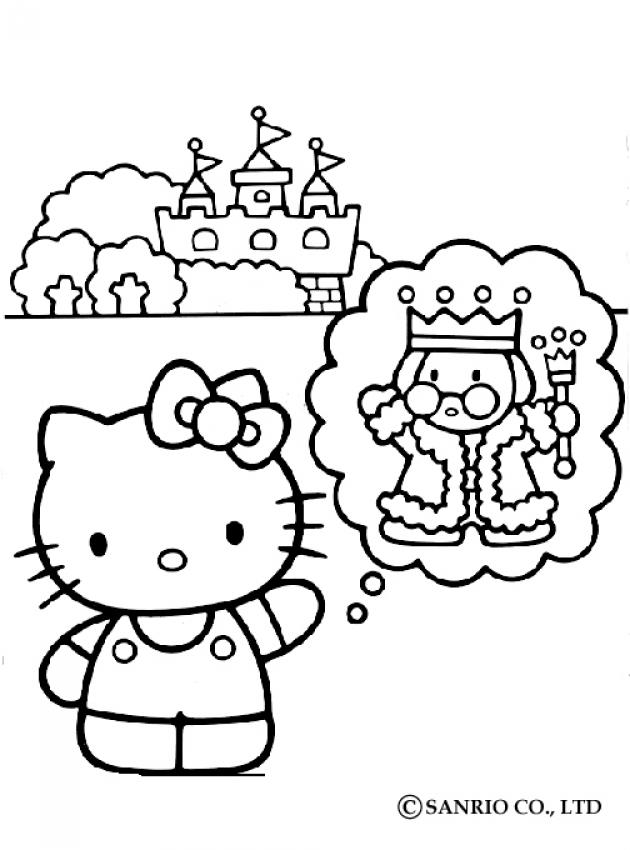 Hello kitty, king and the castle coloring pages