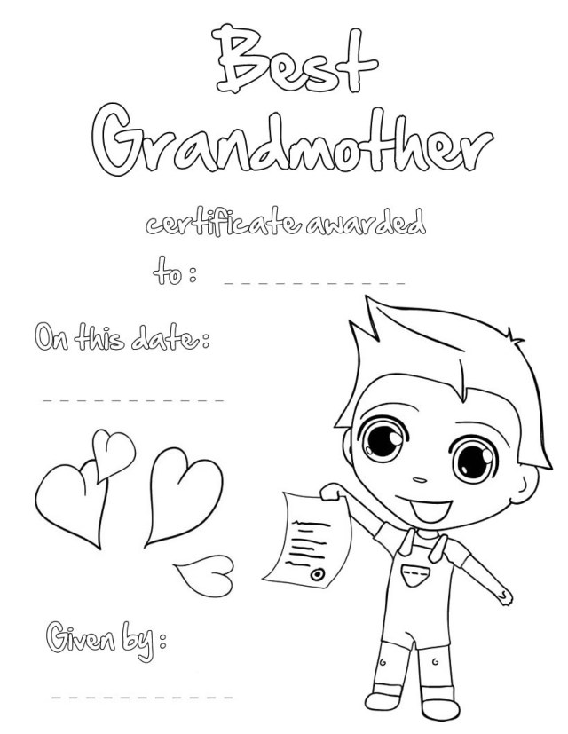 Best grandmother certificate coloring pages - Hellokids.com