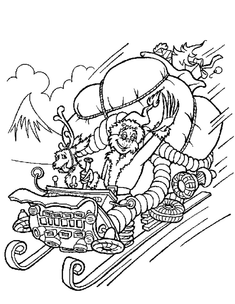 The grinch steals christmas gifts coloring pages