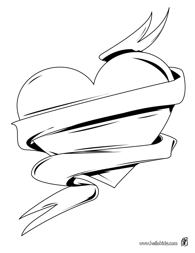 Valentines Hearts Coloring Pages Hellokids