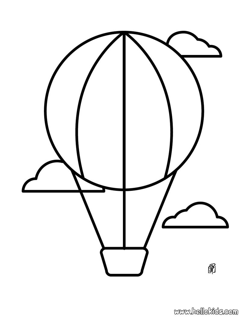 Hot air balloon coloring page for kidlets? or template for
