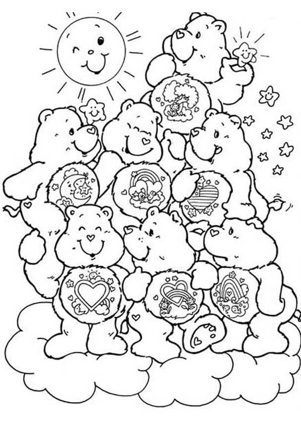 Care Bears Having A Bath Coloring Pages