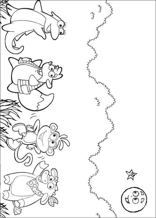dora the explorer coloring pages  dora's friends