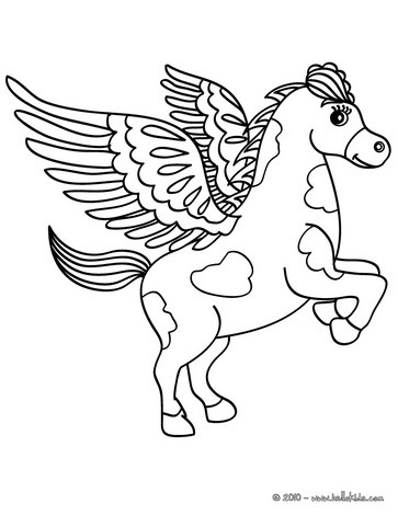 Pegasus, the flying horse of greek mythology coloring