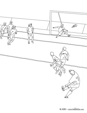 Soccer player scoring a free kick coloring pages