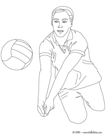Volleyball player going for a dig coloring pages
