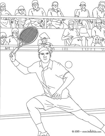 Tennis player performing a forehand grip coloring pages