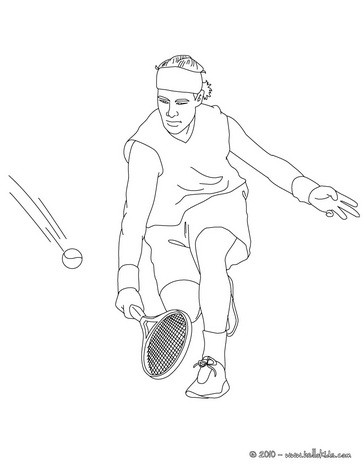 Tennis player performing a drop shot coloring pages