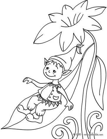 Elf Sliding Down Coloring Pages