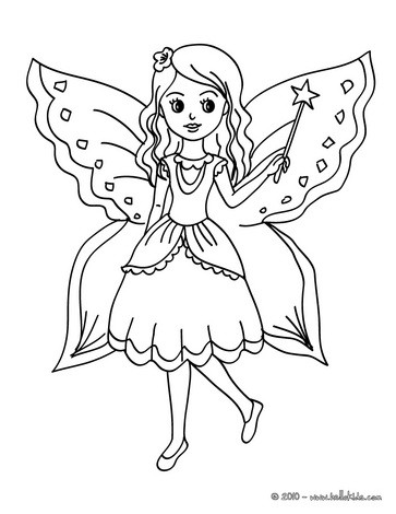 Preschool Coloring Sheets: Fairy Butterfly Coloring