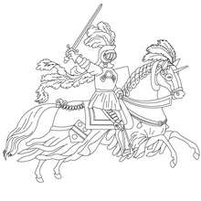 knight coloring page # 7