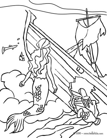 Mermaids explorating a sinking boat coloring pages