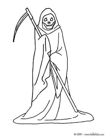 Skeletal figure carrying a scythe coloring pages