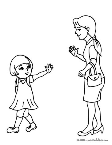 Mother leaving her daughter at school coloring pages