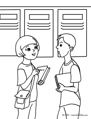 Pupils in front of their school lockers coloring pages