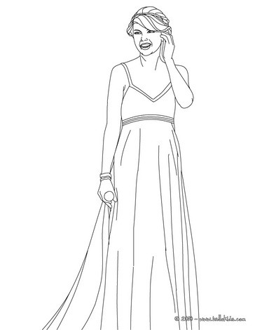 Taylor swift with beautiful dress coloring pages