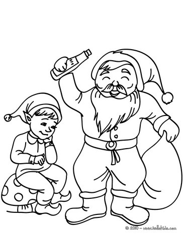 Christsmas sprite and santa claus coloring pages