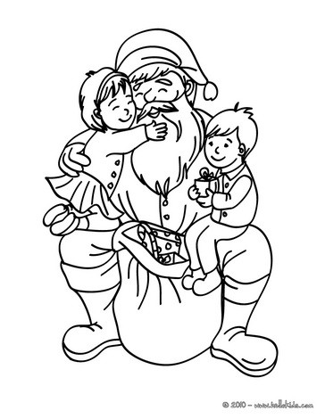 Santa claus with happy girl and boy coloring pages