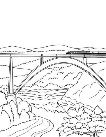High speed rail crossing a very modern and high bridge