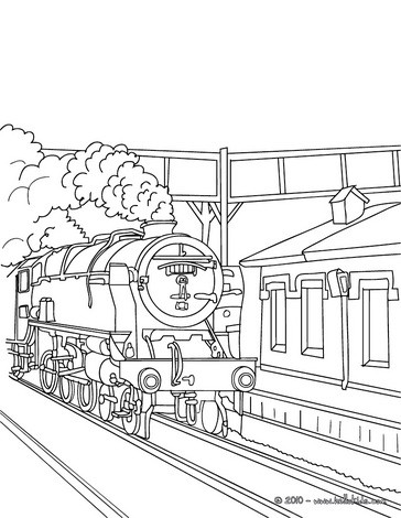 Old steam train getting in the train station coloring