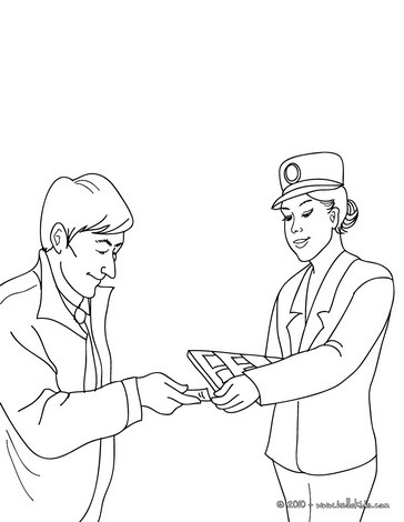 Train agent checking the passenger tickets coloring pages