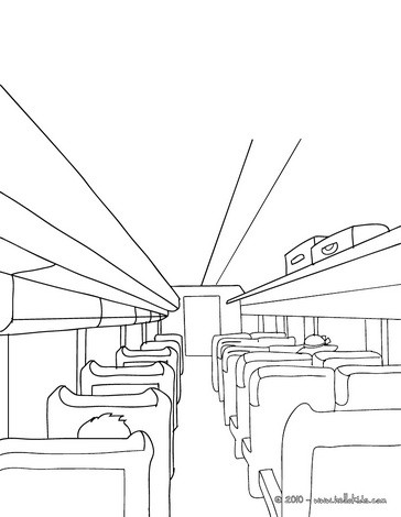 Passengers seated inside the high speed train coloring