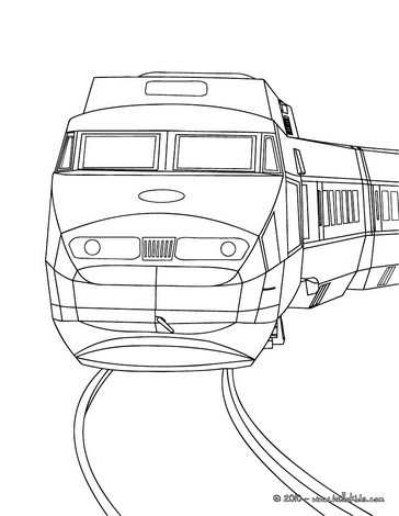 High speed rail engine front view coloring pages