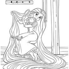 Rapunzel With Her Long Hair Coloring Pages Hellokids Com