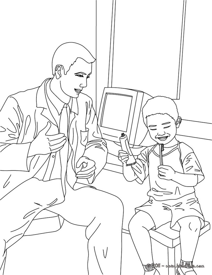 Dentist and kid in the dental surgery coloring pages