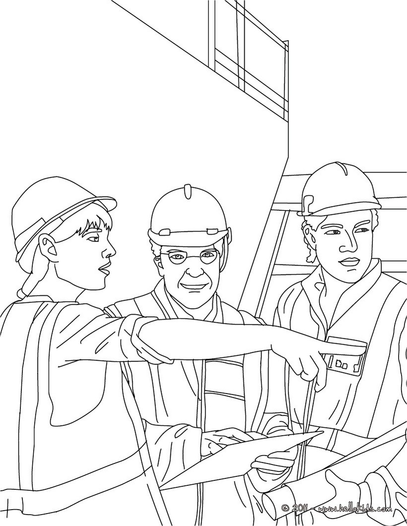 Architect on the construction site with the workers