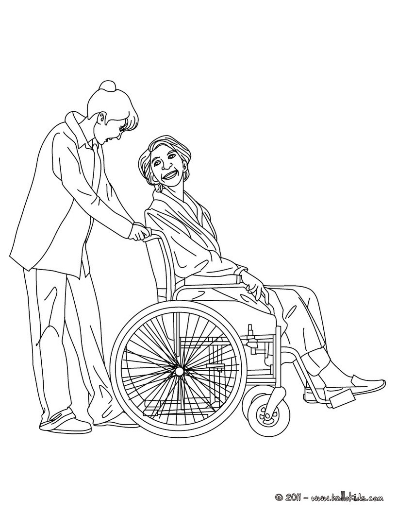 Nurse taking care of an old patient coloring pages