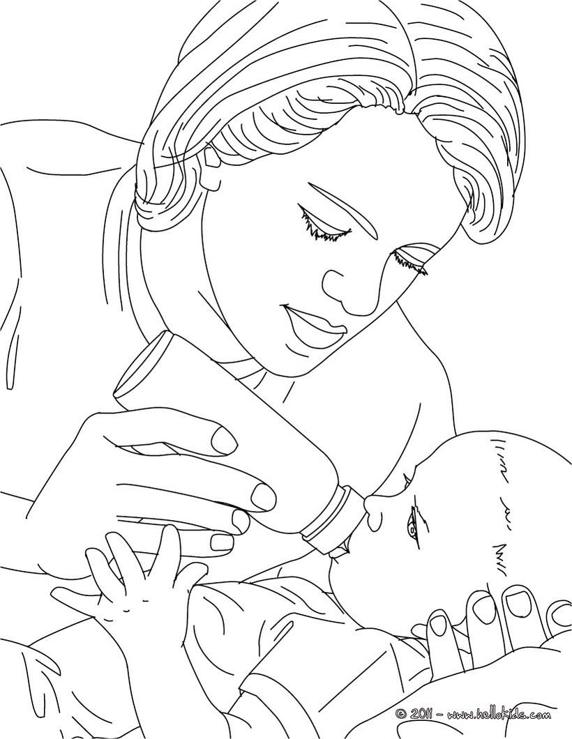 Pediatric nurse bottle-feeding a new born baby coloring