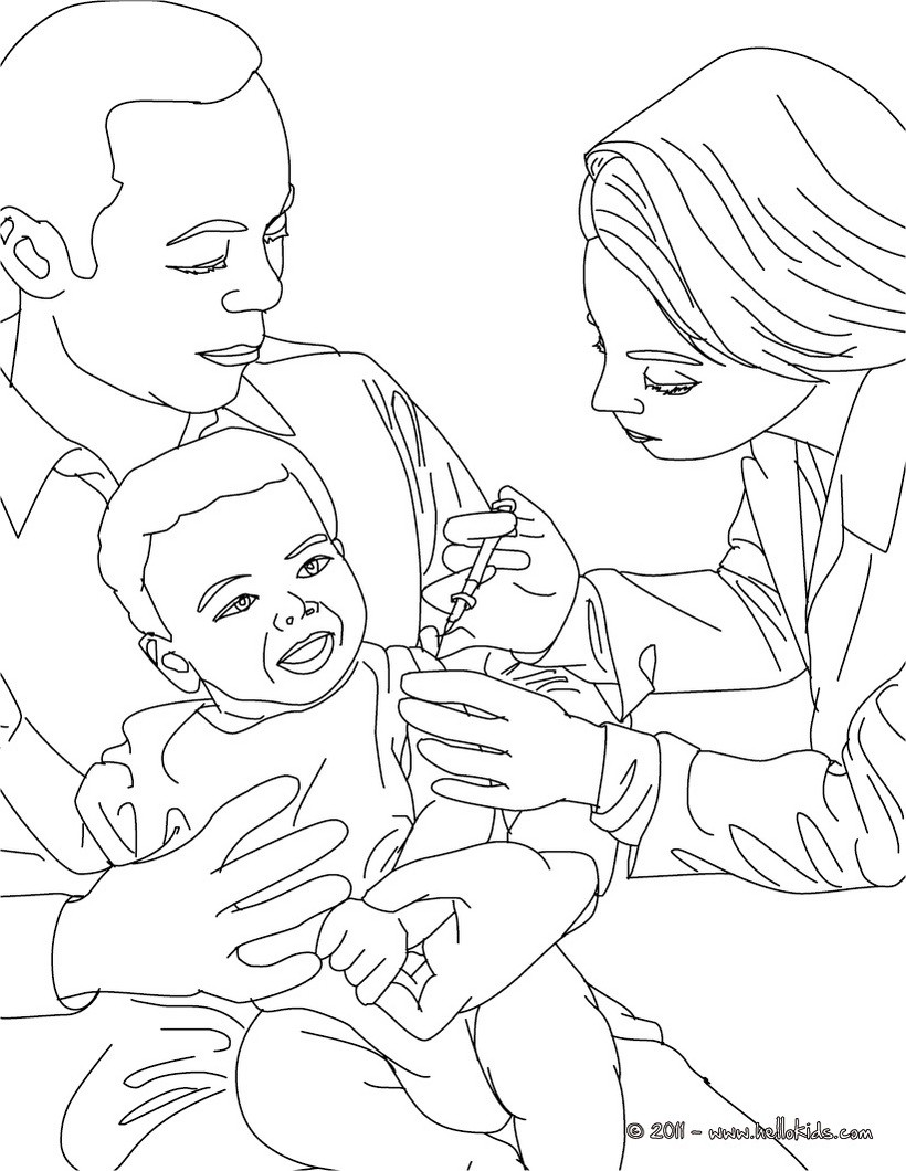 Vaccination Coloring Pages