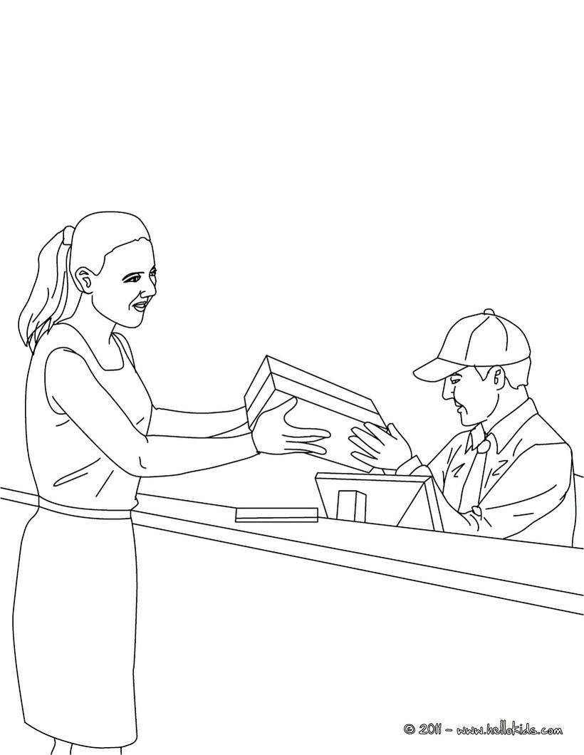 Postman in the parcel post office coloring pages