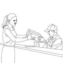 Postman sorts mails in the post office coloring pages