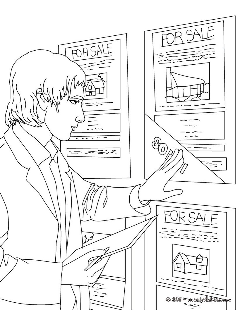 Real estate agent up dates real estate ads coloring pages