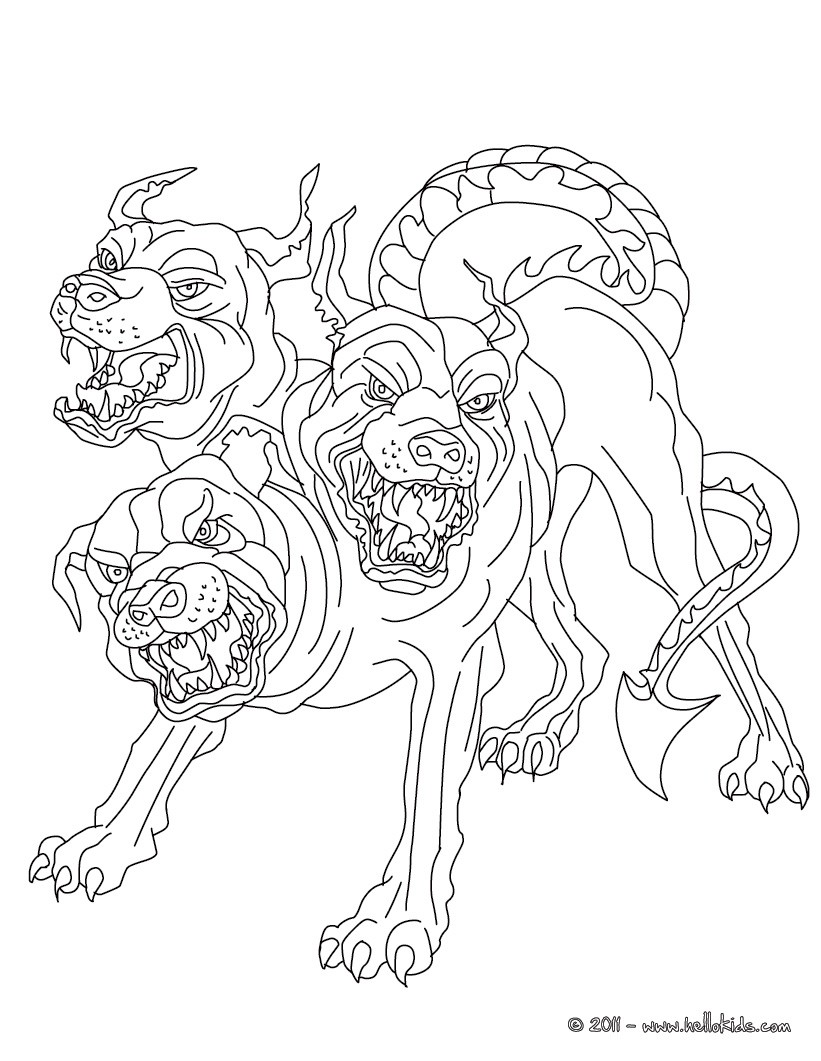 Cerberus The 3 Headed Dog Guadian Of Hades Coloring Pages Hellokids Com