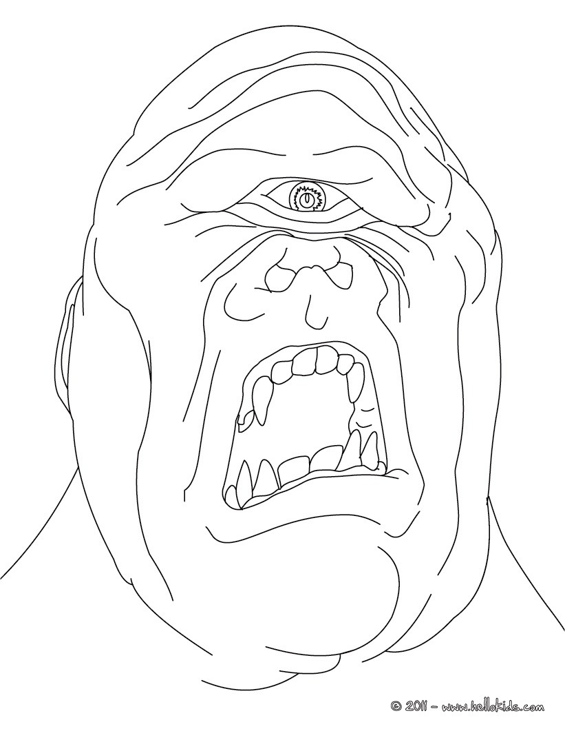 Cyclop the terrific one eyed giant coloring pages