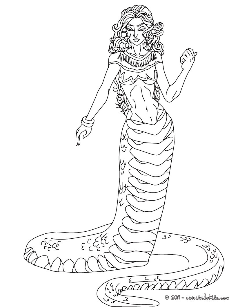 Echidna the half woman and half snake creature coloring