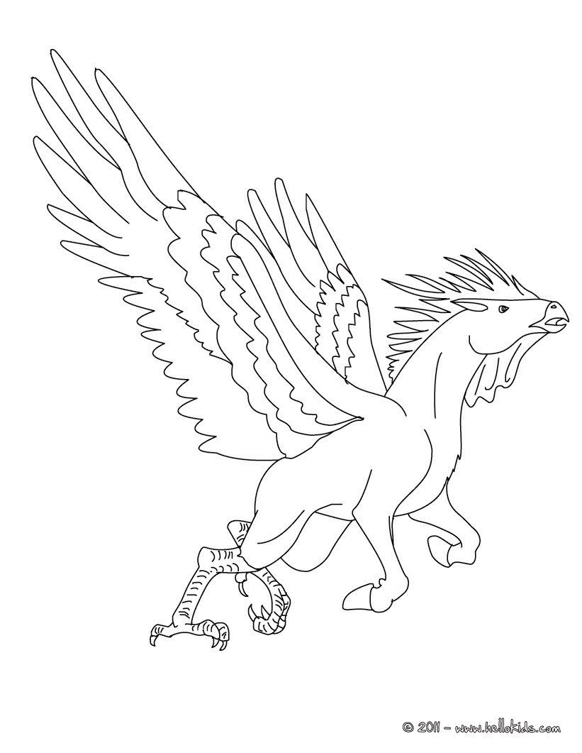 Hippalectyron the fabulous rooster-horse creature coloring