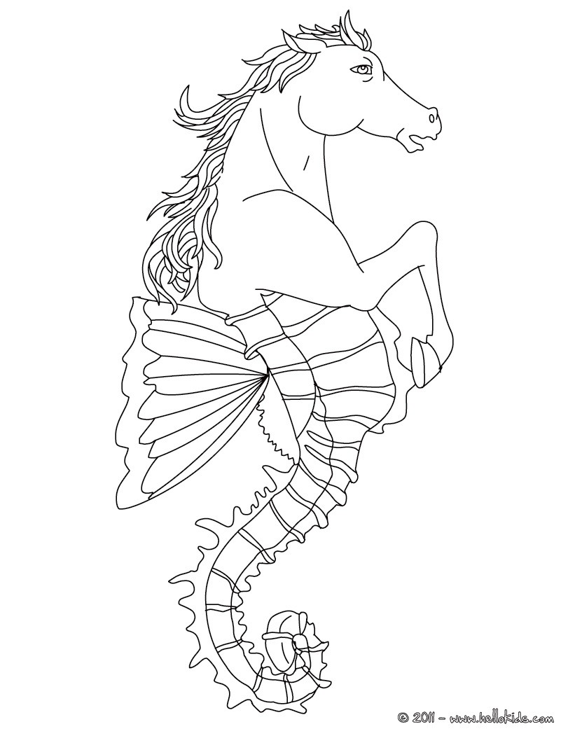 Hippocampus the half horse and half fish creature coloring