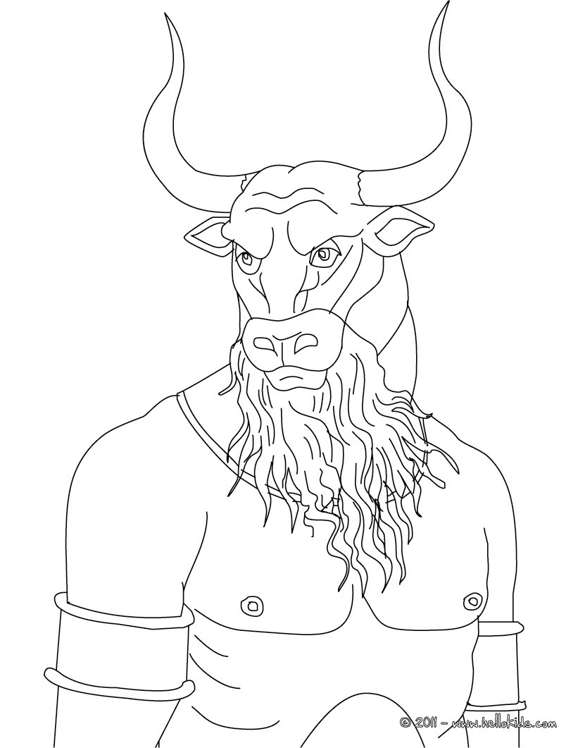 Minotaur the bull-headed man monster coloring pages