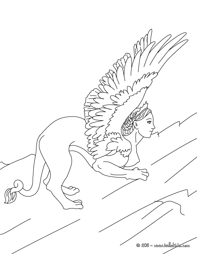 Sphinx the monstruous woman-headed lion of greek mythology