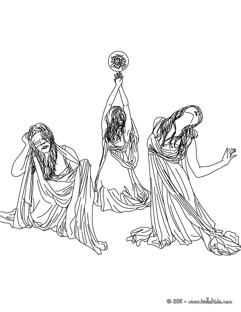 Graeae the horrid-creatures of greek mythology coloring
