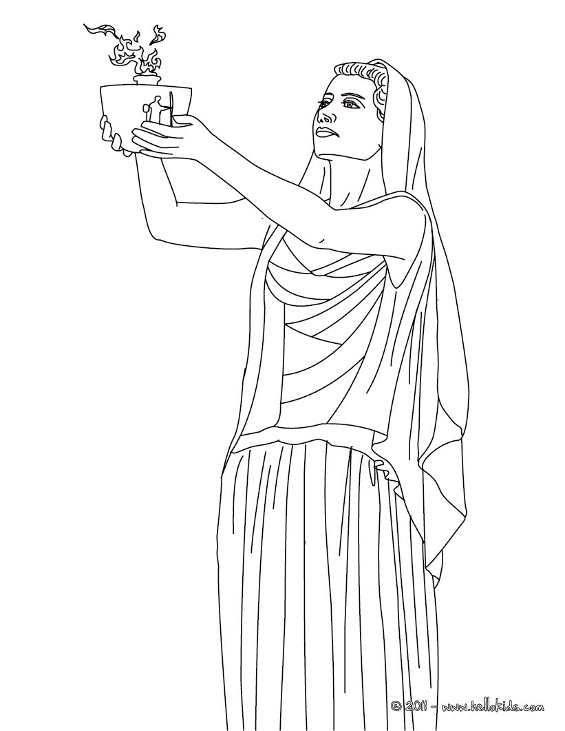 Hestia the greek goddess of the family coloring pages