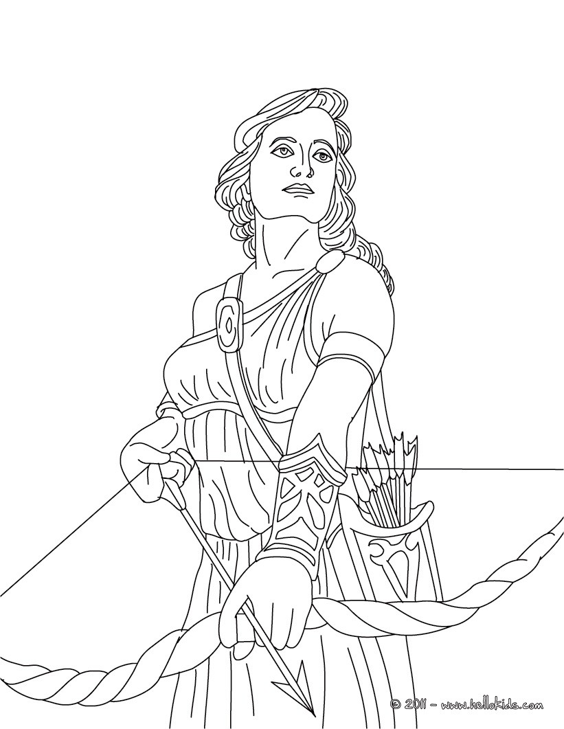 Artemis the greek goddess of hunting coloring pages