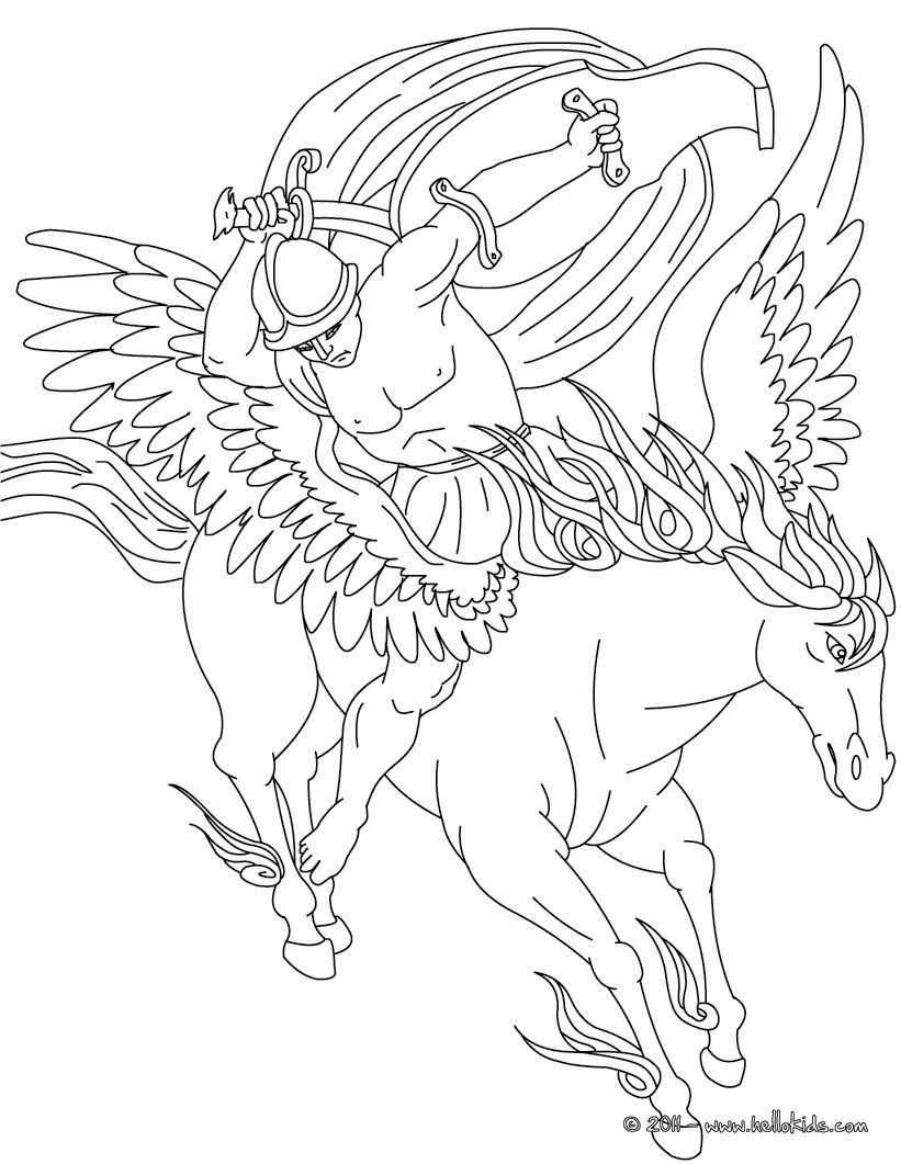 Legend of pegasus and bellerophon coloring pages