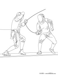 Fencing sport coloring pages